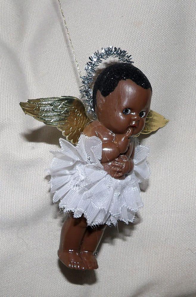 Vintage Kleeware Black Baby Fairy 4 Doll Christmas Tree
