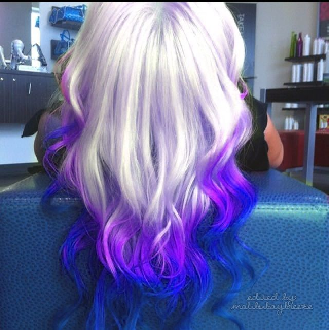 Love This Ombre Platinum To Violet To Blue Hair Styles Dip Dye