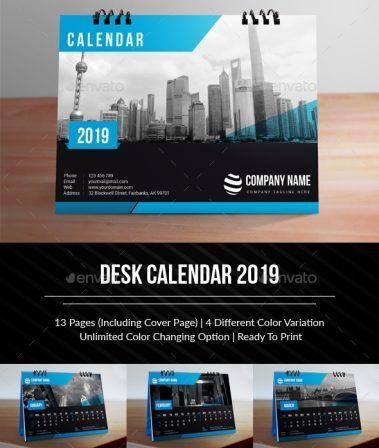 22665847-Desk Calendar 2019 1 (Dengan gambar) | Desain ...