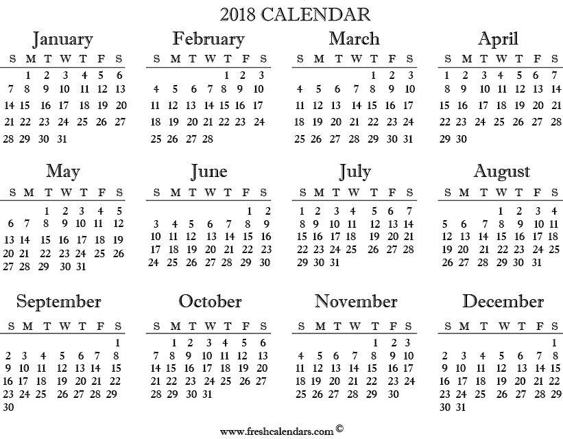 printable 2018 calendar templates and images News to Go 2