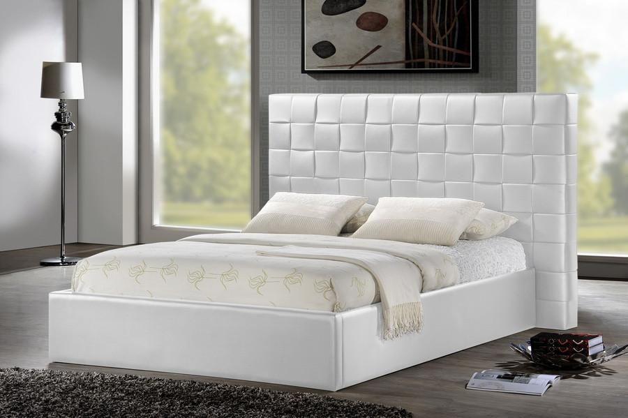 Baxton Studio Prenetta White Bed w/ Upholstered Headboard - Queen ...