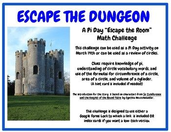 Pi Day Escape the Room Circle Challenge- Sir Cumference ...