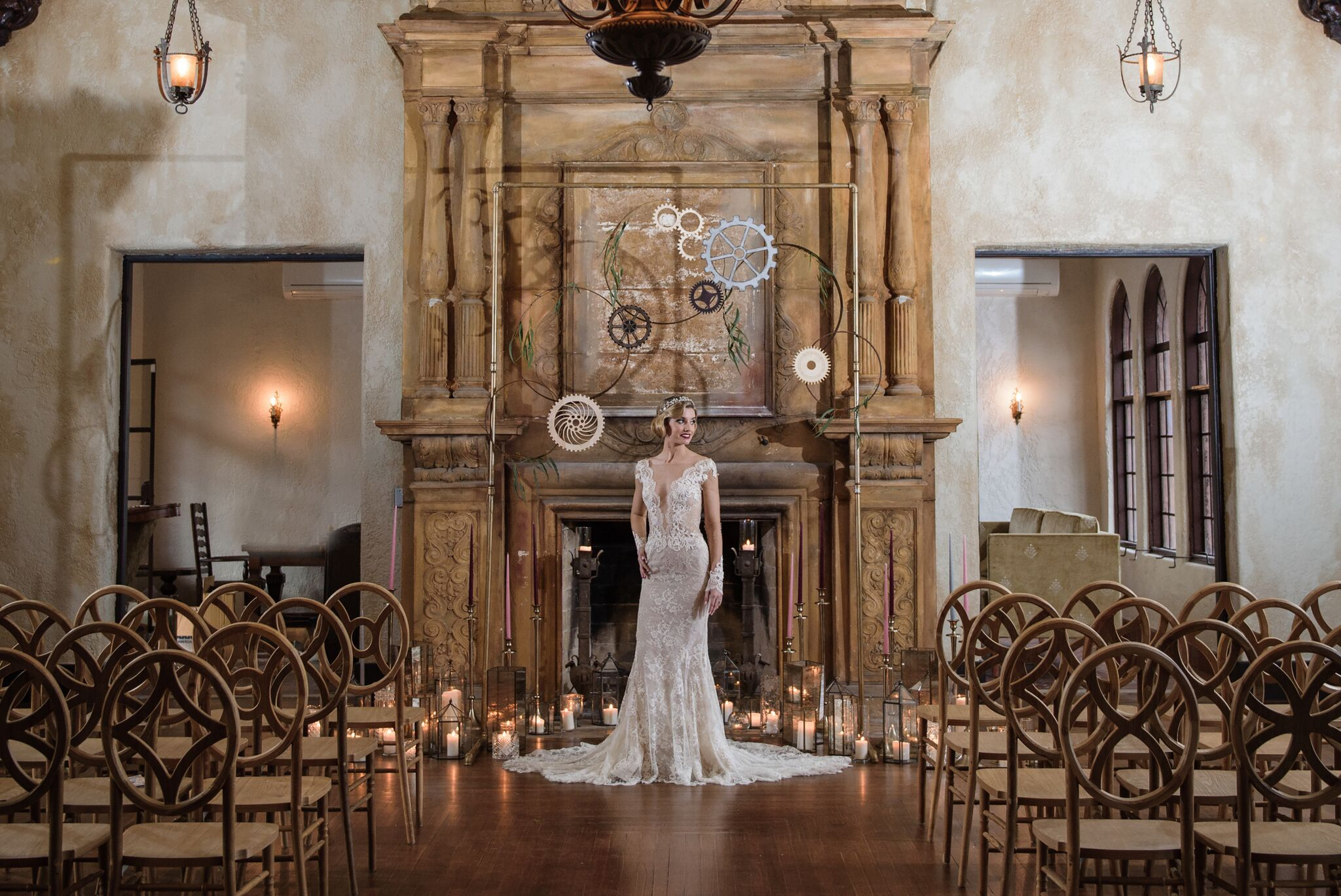 Vineyard Mismatched Chairs Orlando Wedding And Party Rentals Wedding Fireplace Designer Candles Wedding Candles