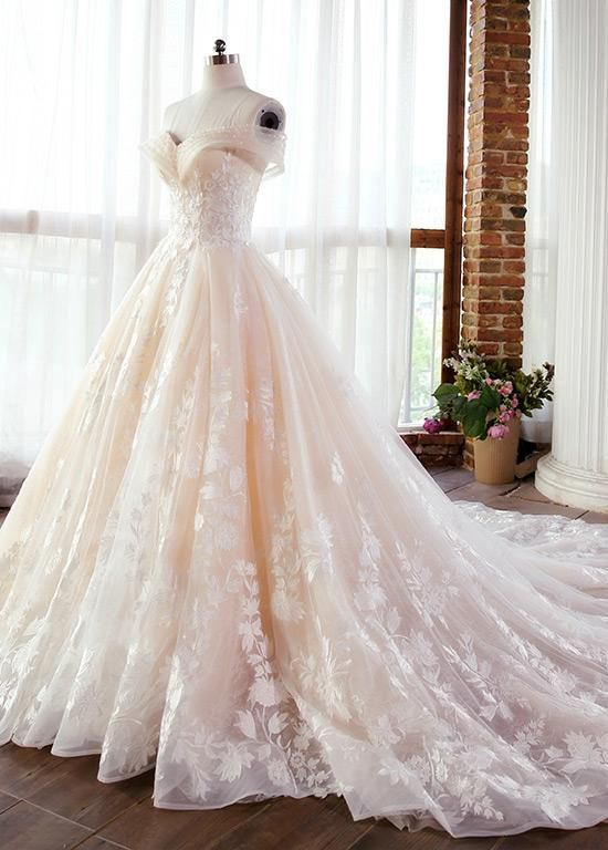 Wedding Dresses Ball Gown, Fascinating Tulle & Lace Off-the-shoulder Neckline A-line Wedding Dresses With Lace Appliques & Beadings DressilyMe