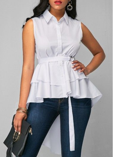 03bded580fc Short Sleeve Zipper Up Flouncing Layered White Blouse on sale only US 31.11  now