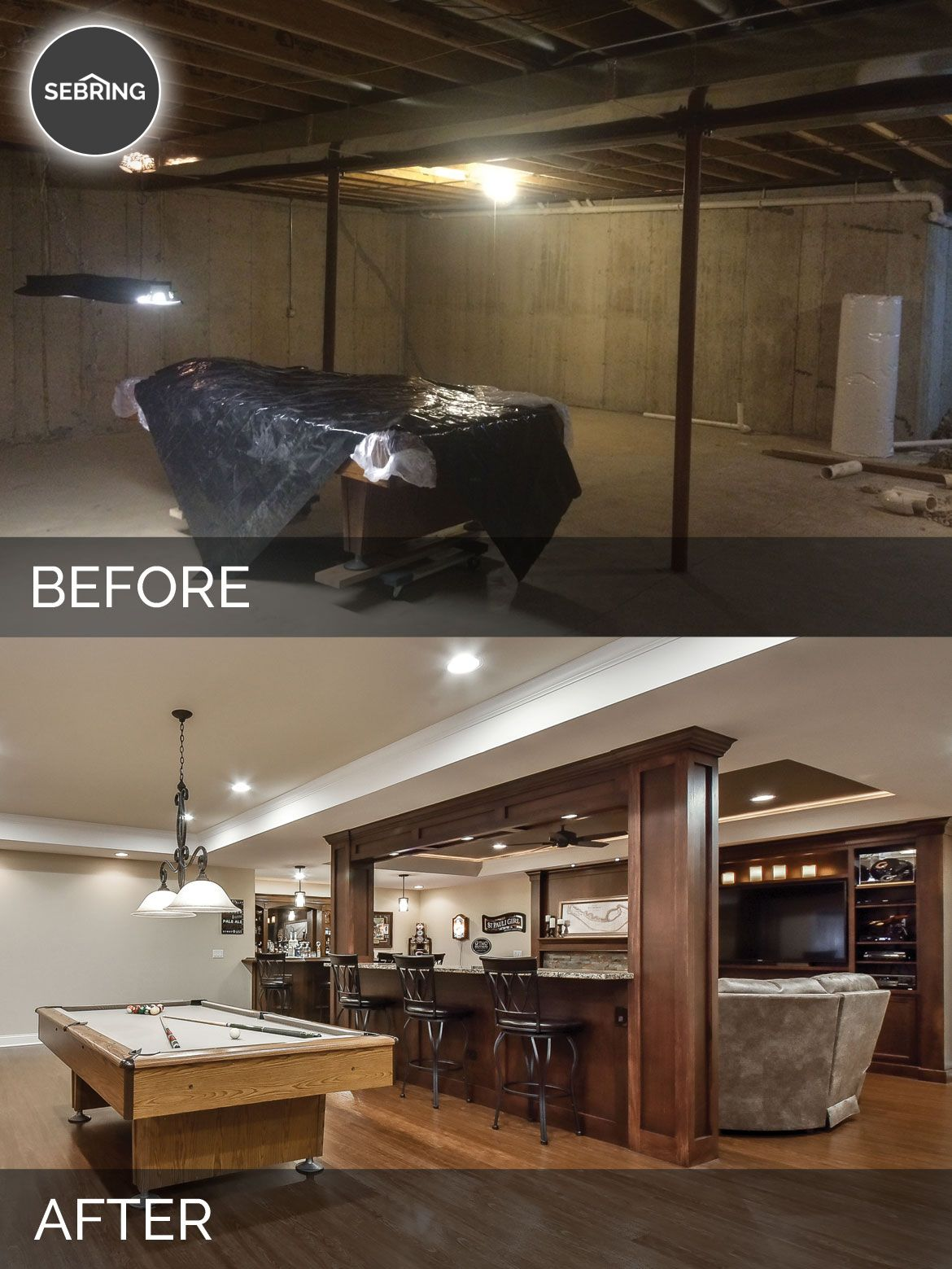 Brian & Kelli's Basement Before & After Pictures