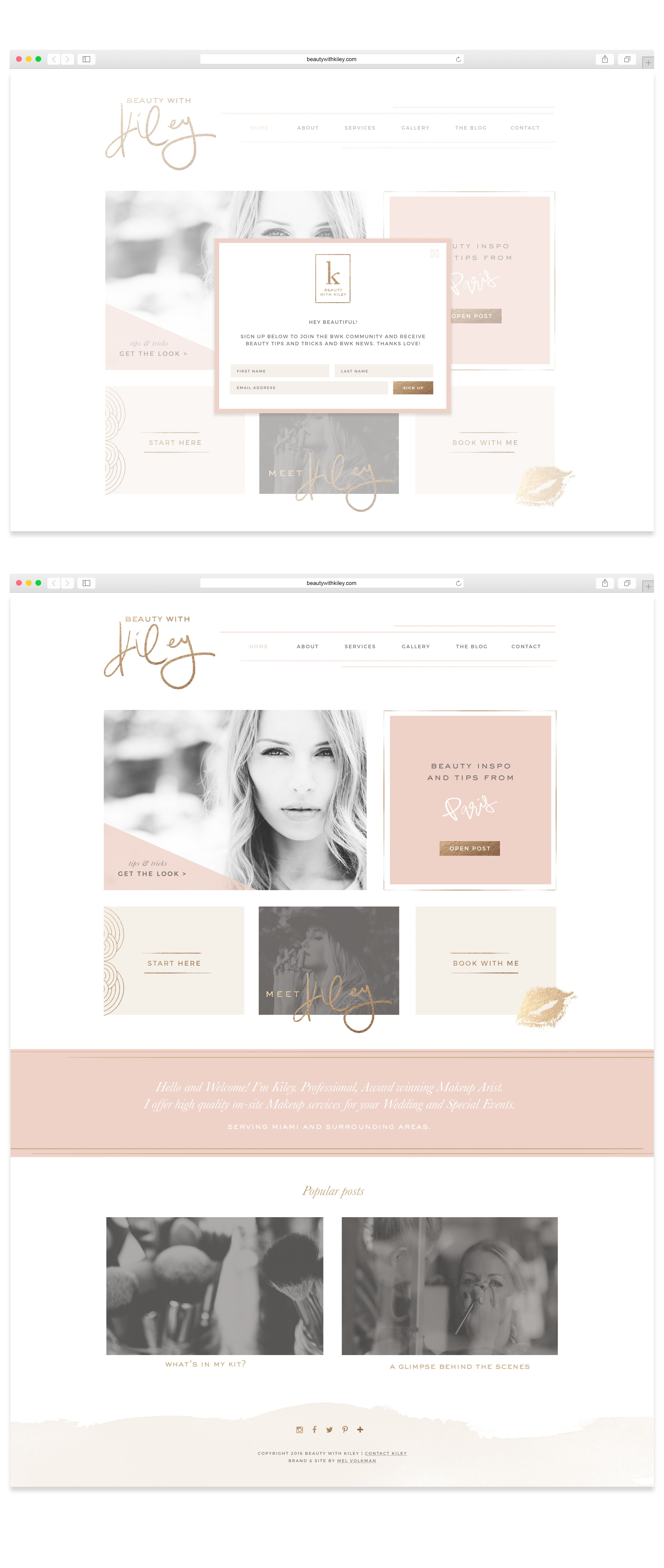 Beauty With Kiley Website Design by Mel Volkman Custom WordPress Website Blog Makeup Artist Website Beautiful Website Design Blog Design St Augustine Business Branding
