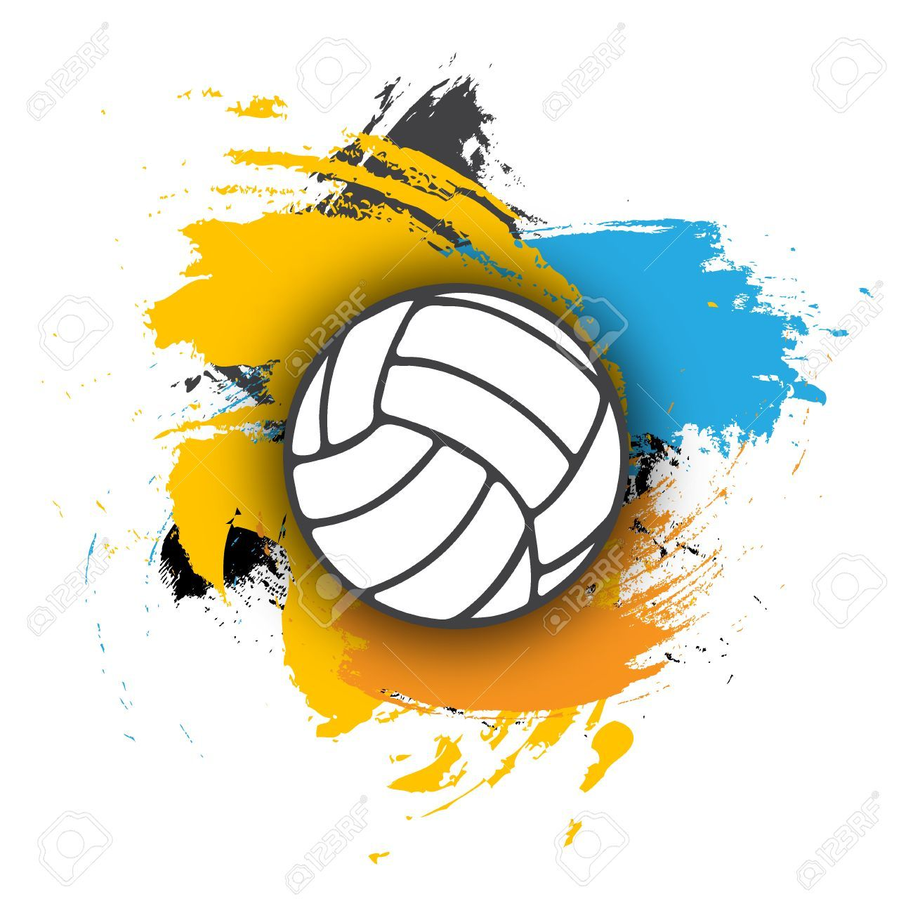 Vector Volleyball Logo On The Background Of Multi Colored Brushstrokes Volleyball Ball For Banner Poster Or Volleyball Volleyball Shirt Designs Natural Logo