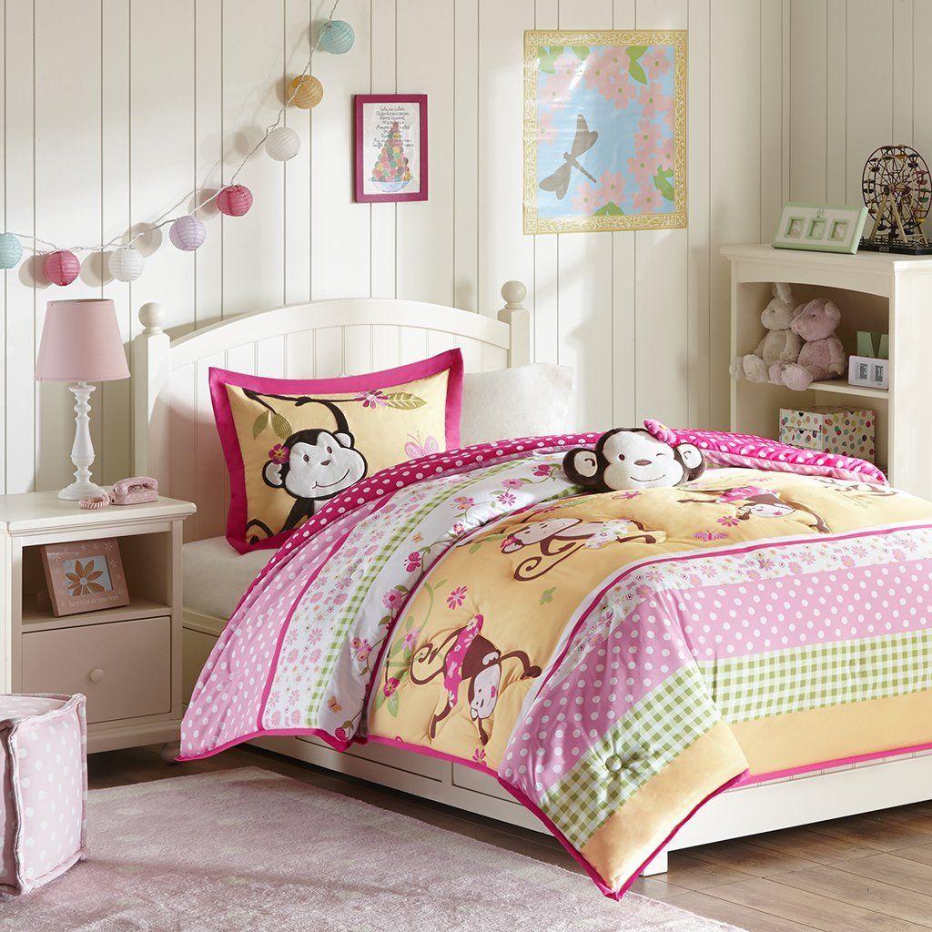 Mizone Kids Monkey Business 4 Piece Comforter Set, Pink