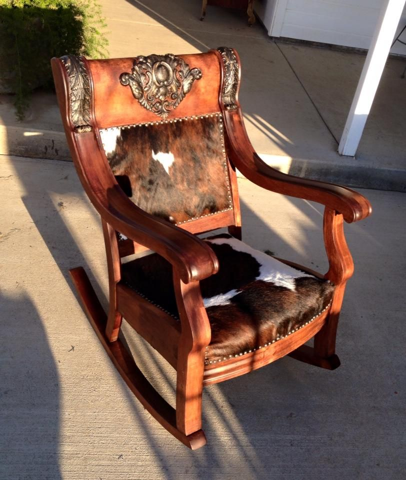 Antique Rocker Makeover With Cowhide By Kathy Woolley Originals On Facebook And Instagram Furniture Makeover Furniture Makeover Diy Diy Furniture