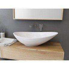 Vasque A Poser Resine De Synthese L 56 4 X P 32 3 Cm Blanc Shila Vasque A Poser Meuble Pour Vasque A Poser Et Vasque