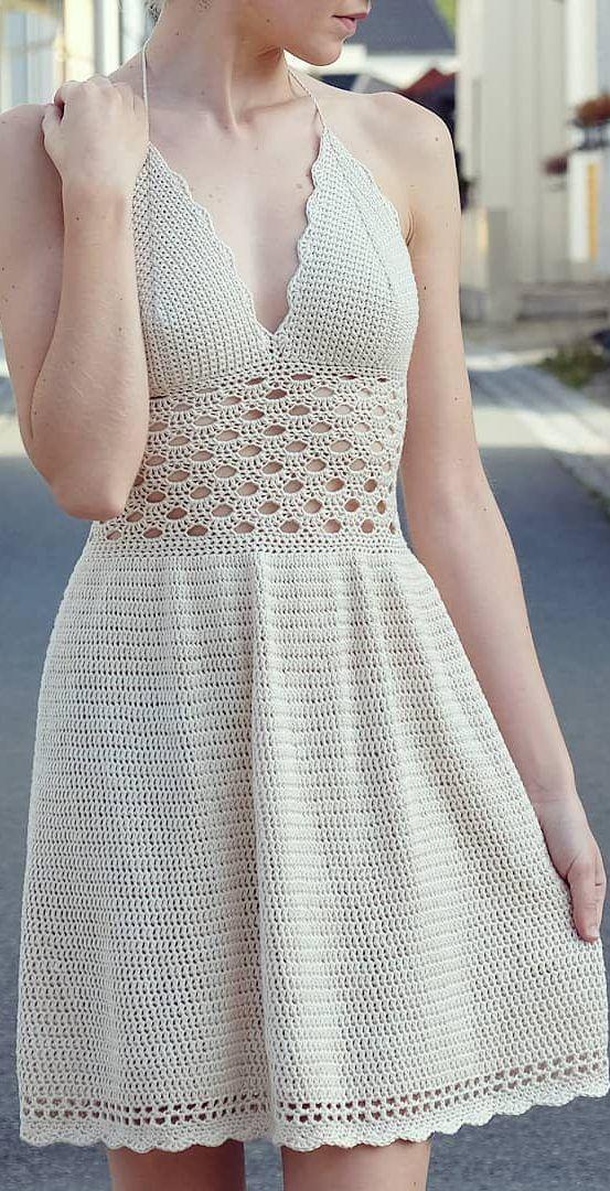 Elegantes patrones de vestidos de ganchillo gratuitos e ideas de imagen para 2019 Parte 2 #tejidos