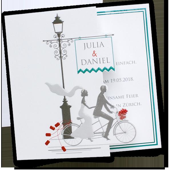 Hochzeitseinladungen Brautpaar mit Tandem  Originelle Hochzeitseinladungen  Pinterest