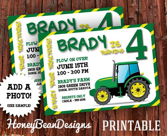 Printable Tractor Birthday Party Invitation By Honeybeandesigns