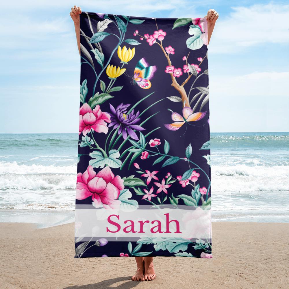 Flowers And Butterflies Personalized Beach Towel Custom Beach