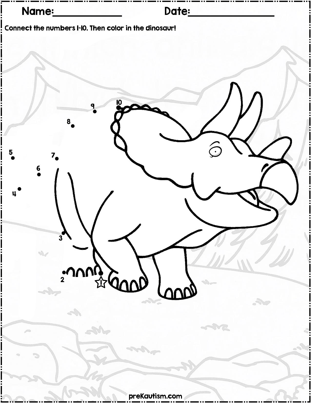 Dinosaur Dot To Dot 1 10 Dinosaur Preschool Activities Math Worksheet [ 1650 x 1275 Pixel ]