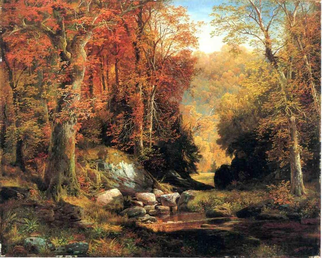 Thomas Kinkade Autumn Paintings | Thomas Moran Cresheim Glen, Wissahickon, Autumn Painting