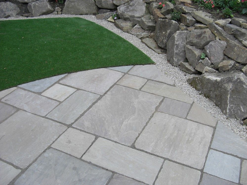 Indian sandstone paving tumbled raj green patio pack for Green pavers
