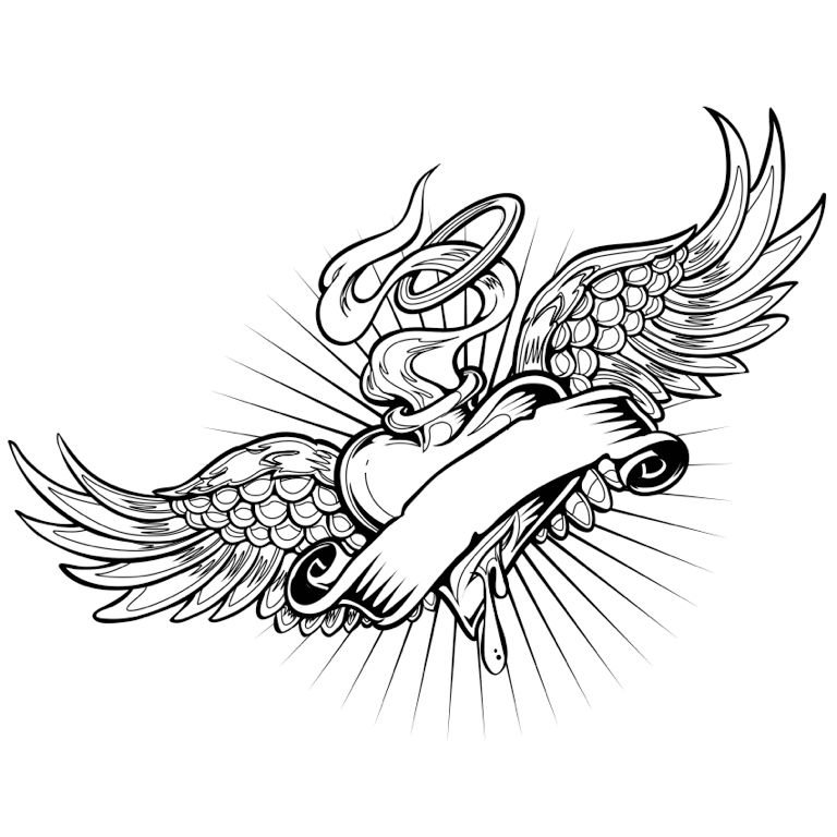 Heart With Wings Coloring Page Tattoo Colorfy App Heart With