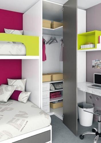 Moderno camarote juvenil con escritorio cajon 2 closet y for Closet modernos para habitaciones