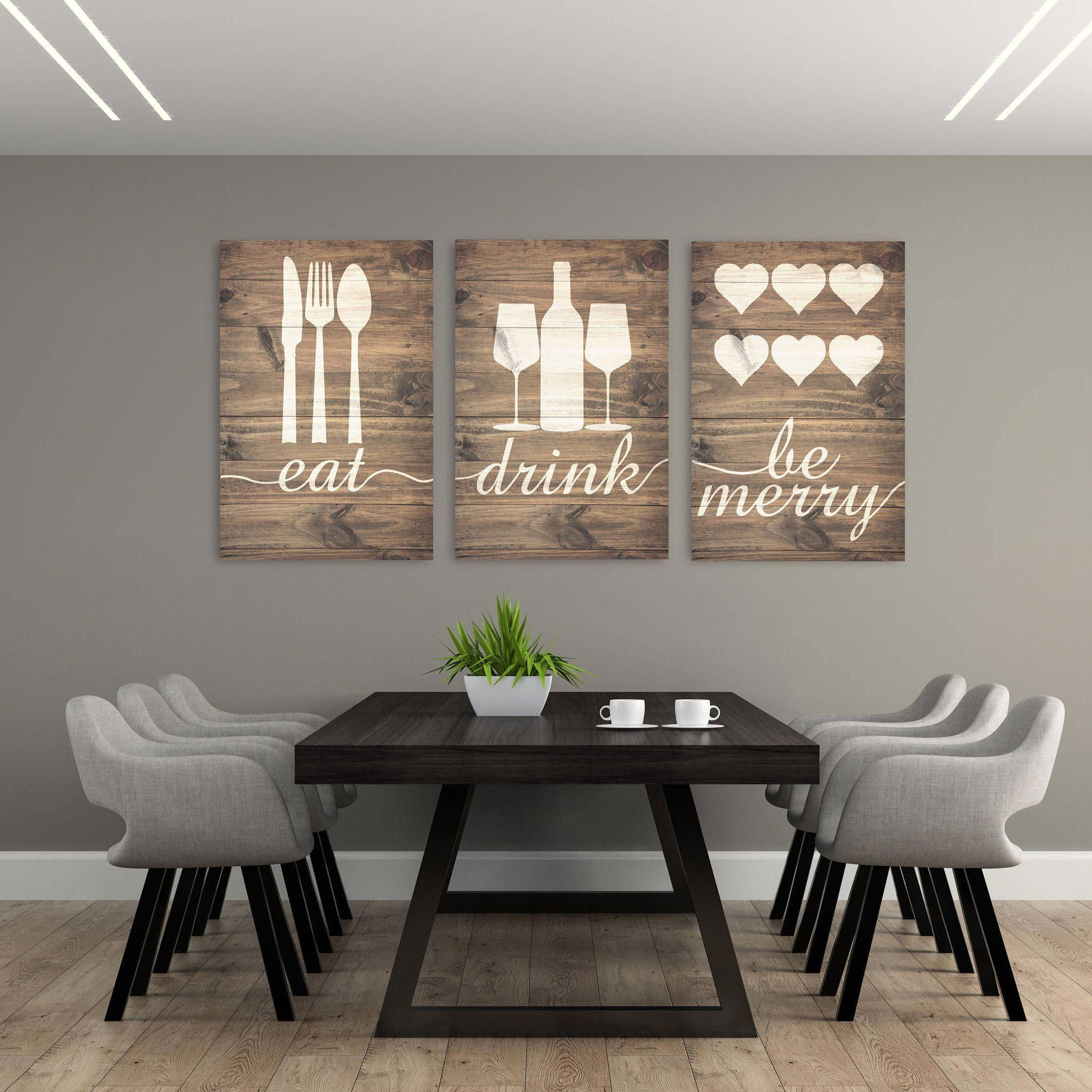 Rustic Eat Drink And Be Merry Canvases #kitchenwalldecor