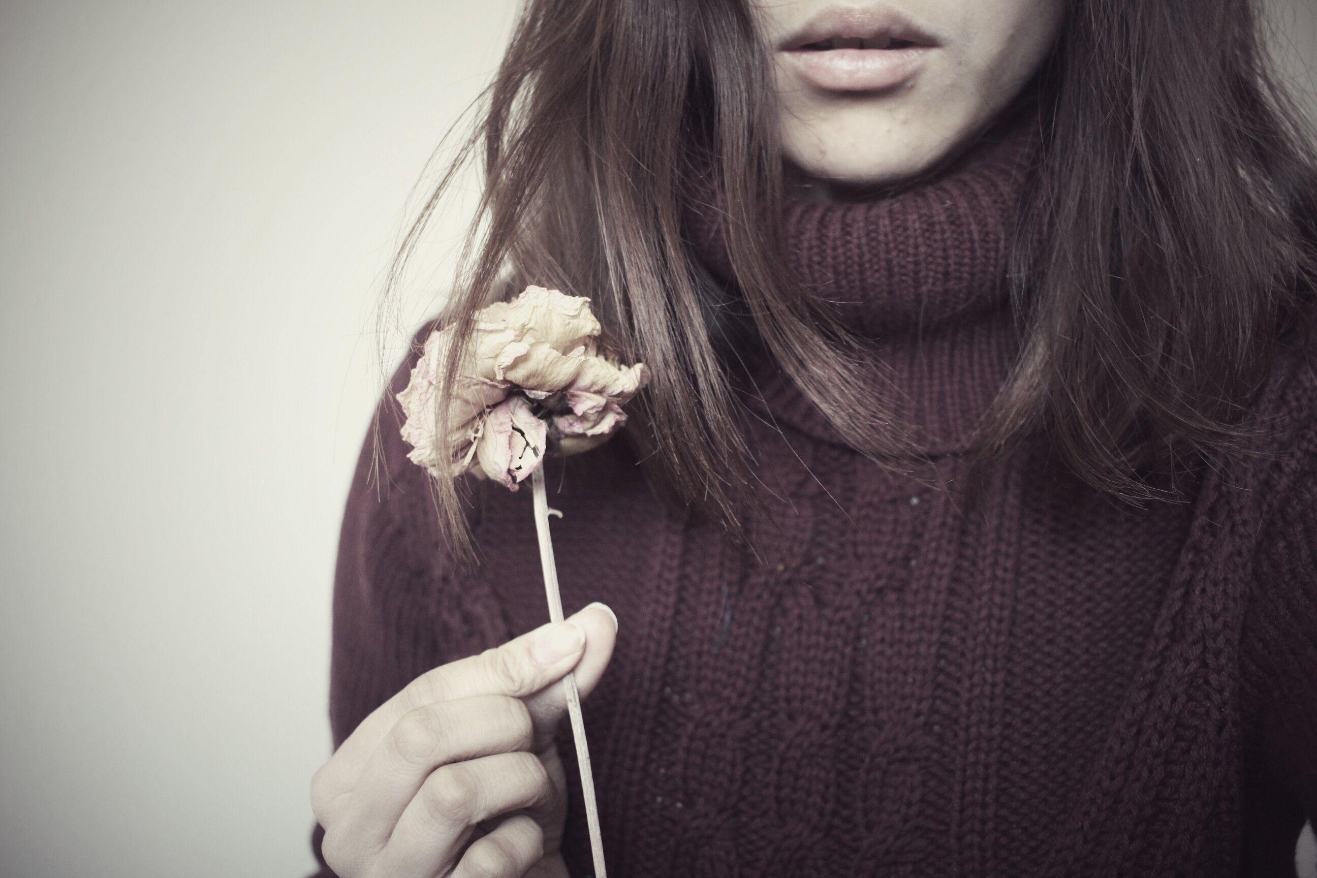 Winter sweater red long bob flower turtle neck wear your