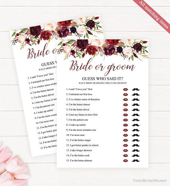 Guess Who Said It Template Printable Bridal Shower Bride Or Groom Marsala Bordo Re