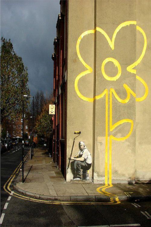 Yellow Flower Graffiti Urban Banksy Street SINGLE CANVAS WALL ART Picture Print