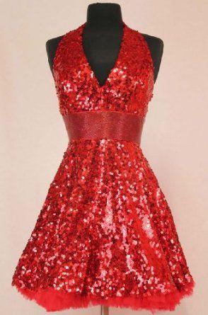 #4023 Red Sequin Short Halter Cocktail Evening Prom Dress,$159.00
