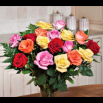 Eighteen magnificent long-stemmed Roses, in a symphony of bright and pastel colors, come ready for presentation to the avid gardener in your life, or to someone who just enjoys cut flowers.
