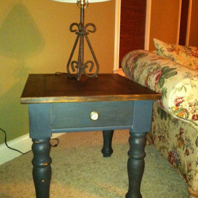 Broyhill Fontana End Table Refinished With Annie Sloan Graphite