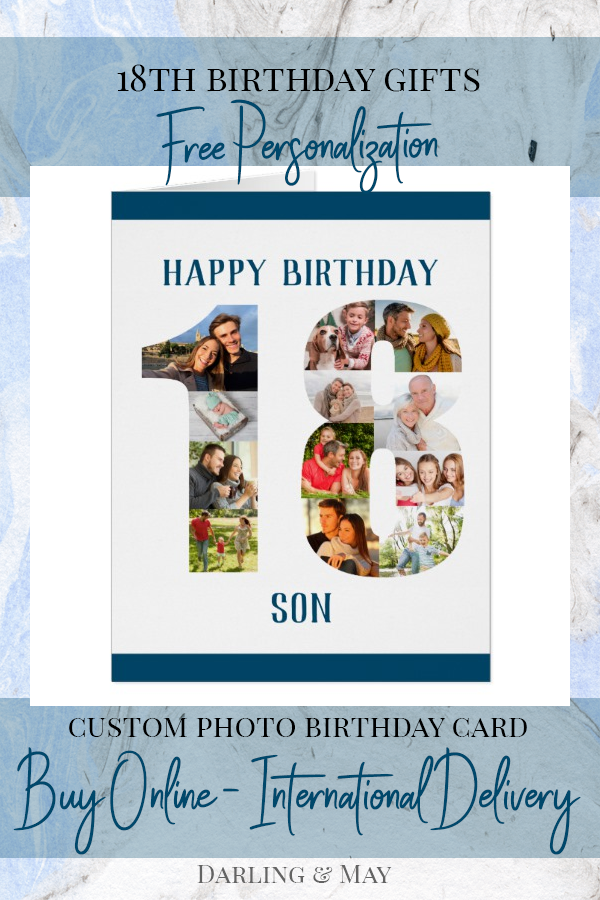 Happy 18th Birthday Son Number 18 Photo Collage Card Zazzle Com Happy 18th Birthday Son 18th Birthday Cards 18th Birthday
