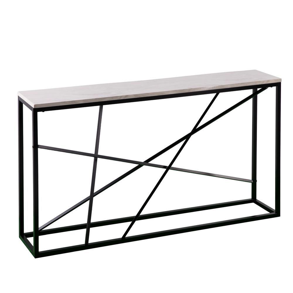 Southern Enterprises Tesino Matte Black Faux Marble Skinny Console Table Matte Black W White Simulated Marble Skinny Console Table Marble Console Table Console Table