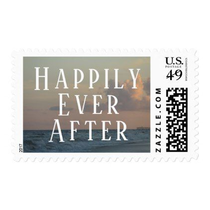 Happily Ever After Typography W Beach Dusk Photo Postage Marriage GiftsWedding