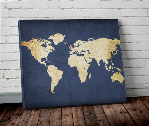 Navy WORLD MAP Wall ART- Canvas World Map Print in Navy Blue and - new best world map download