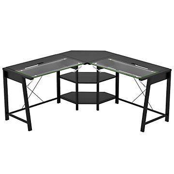 Vance Lift Top Glass L Desk 63 75 L Shaped Corner Desk