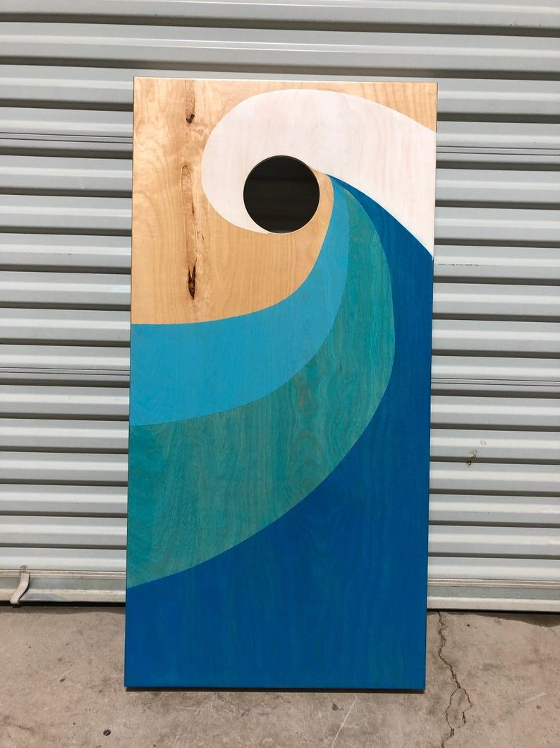 Ocean Wave Full Size Stained Cornhole Boards Set with