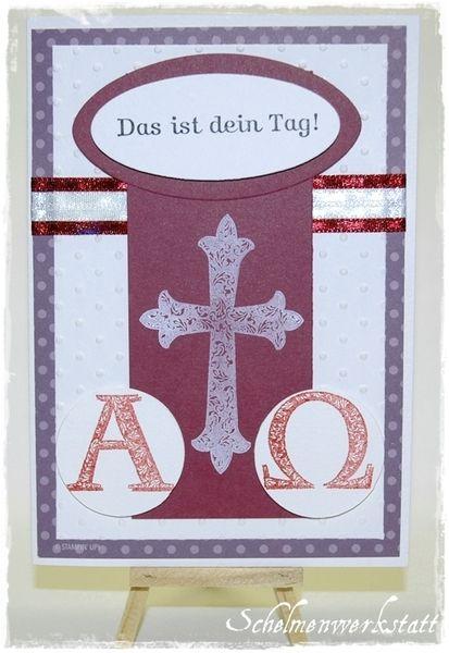Glückwunschkarte Kommunion Konfirmation lila Kreuz von Schelmenwerkstatt auf DaWanda.com