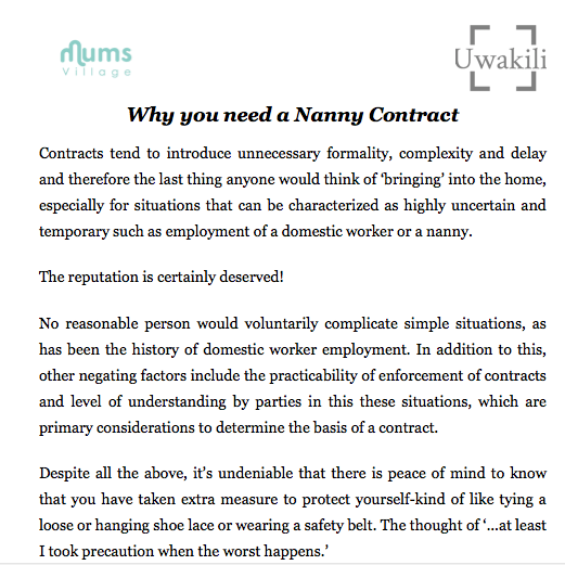 printable nanny contract