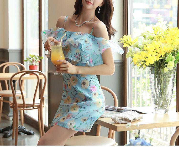 Original novo 2016 Robe Femme Plus Size Ruffles magro moda Casual Floral vestido azul mulheres atacado em Vestidos de Roupas e Acessórios no AliExpress.com | Alibaba Group