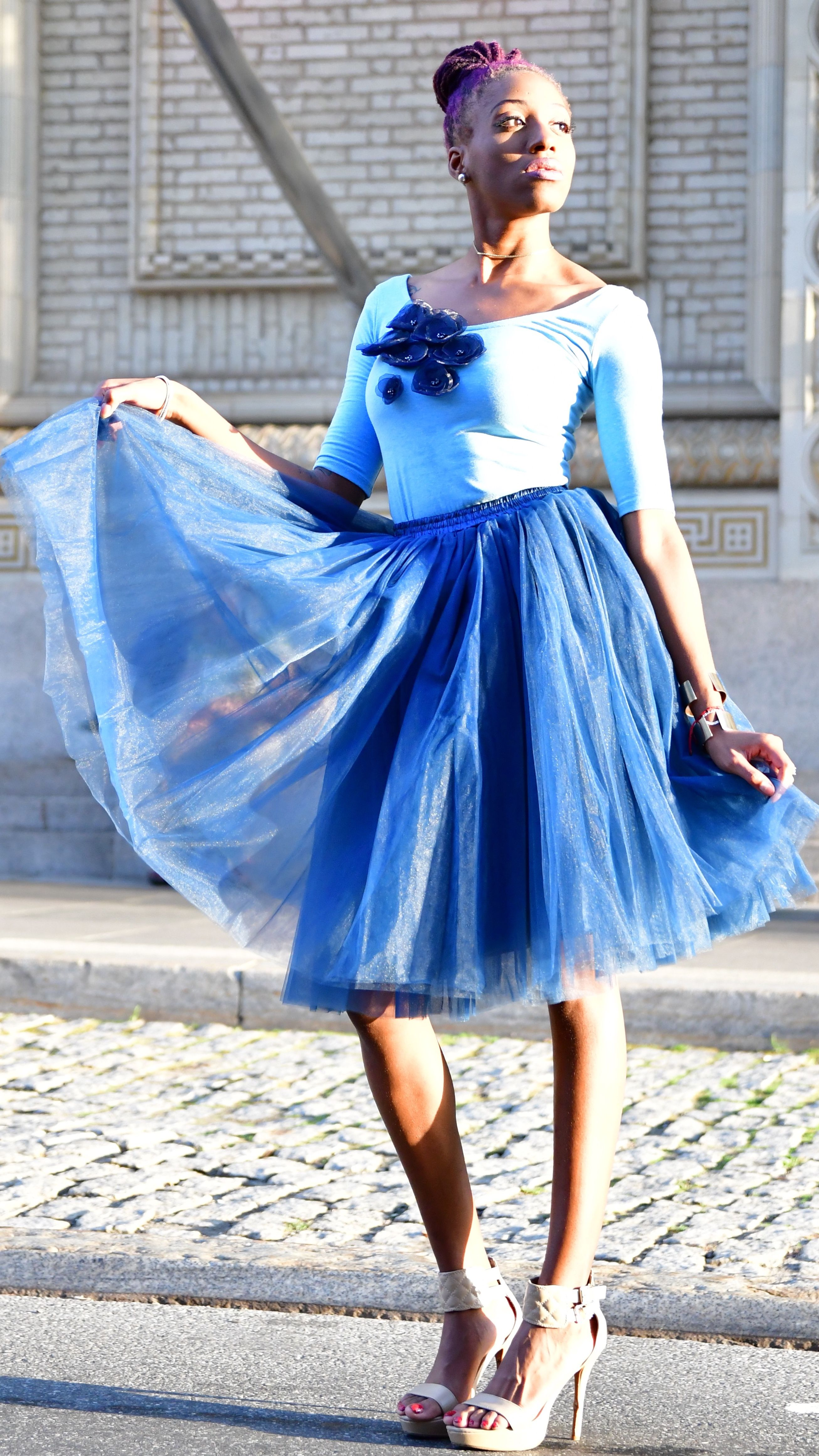 fcbabae95a Blue Tulle Skirt, Tulle Skirts, Puffy Skirt, White Lace Blouse, Boutique  Shop