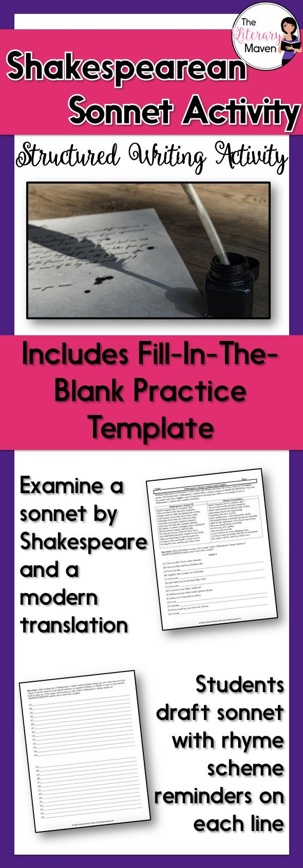 This sonnet writing activity can be used during a poetry unit or in ...