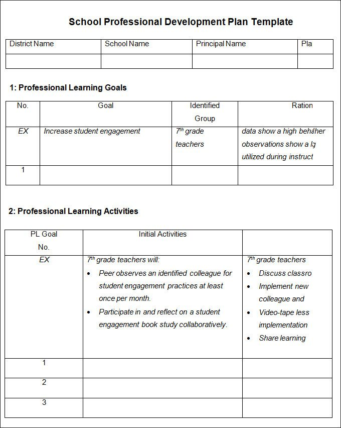 Image result for professional development plan IT teaching - microsoft word action plan template