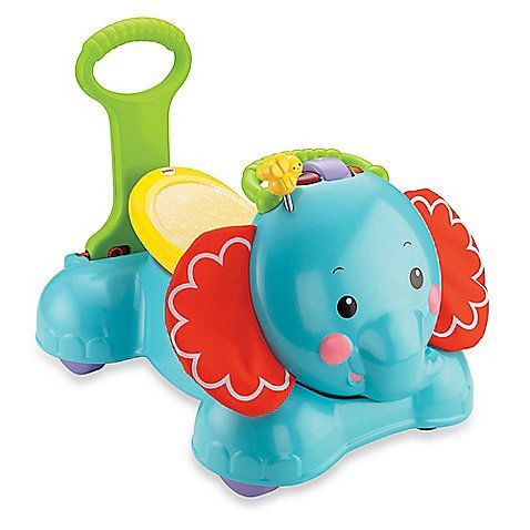 The Bounce, Stride & Ride Elephant by Fisher-Price is a cute animal friend that gets your baby moving with 3 different grow with me ways to play. Its colorful lights, fun sounds, and lively sing-along songs delight and stimulate a child's senses.