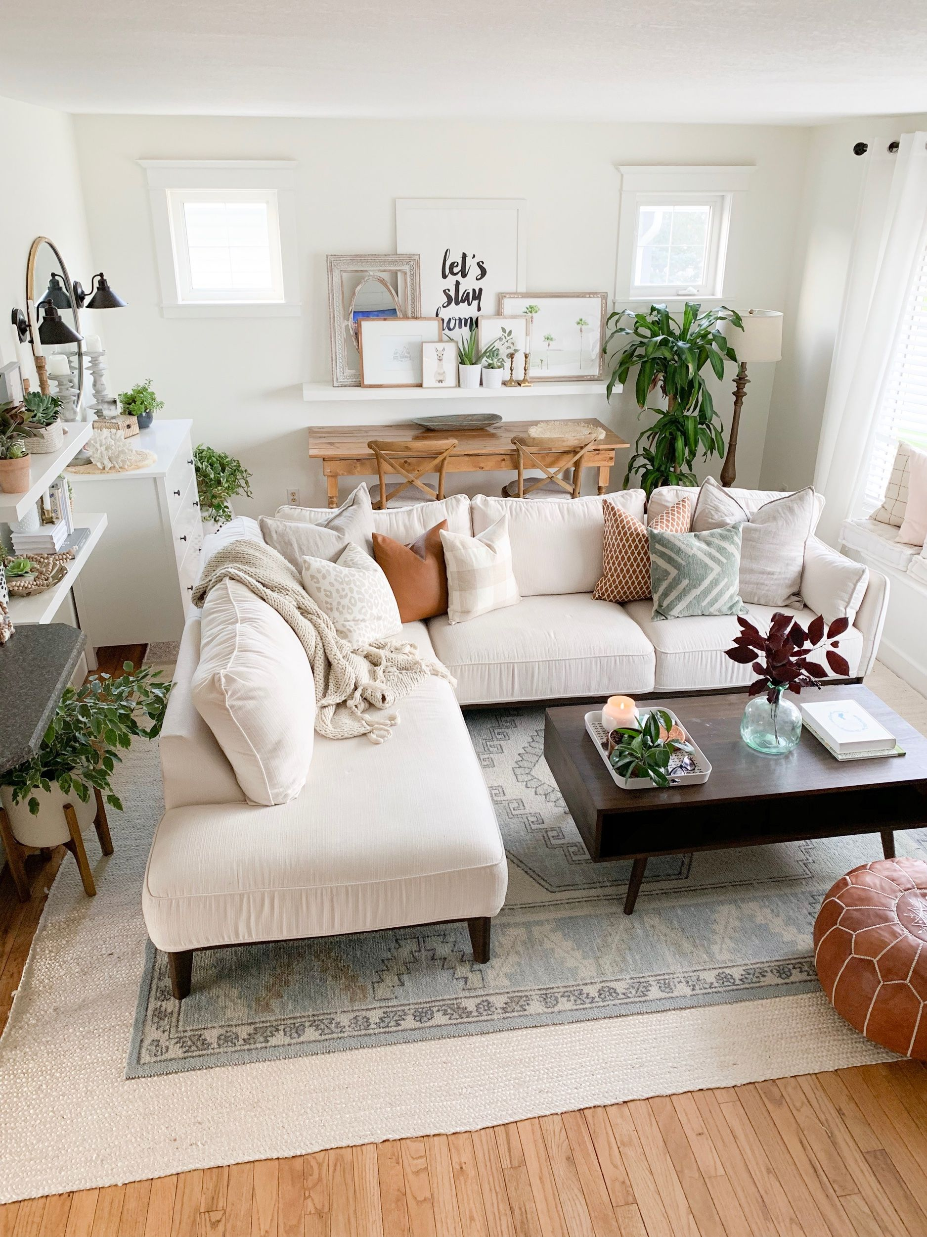 Photo of White Living Room, White Sectional, Decor, Boho Design – The Beauty Revival