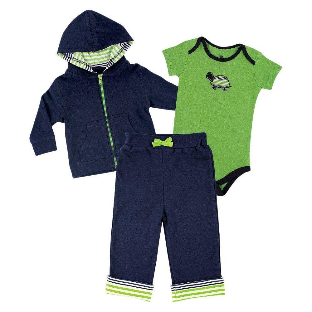 Yoga Sprout Neugeborenes Jungen Bodysuit und Hosen Set – Navy / Grün 3-6 M, Jungen, Größe: Neugeboren, Grün / Blau