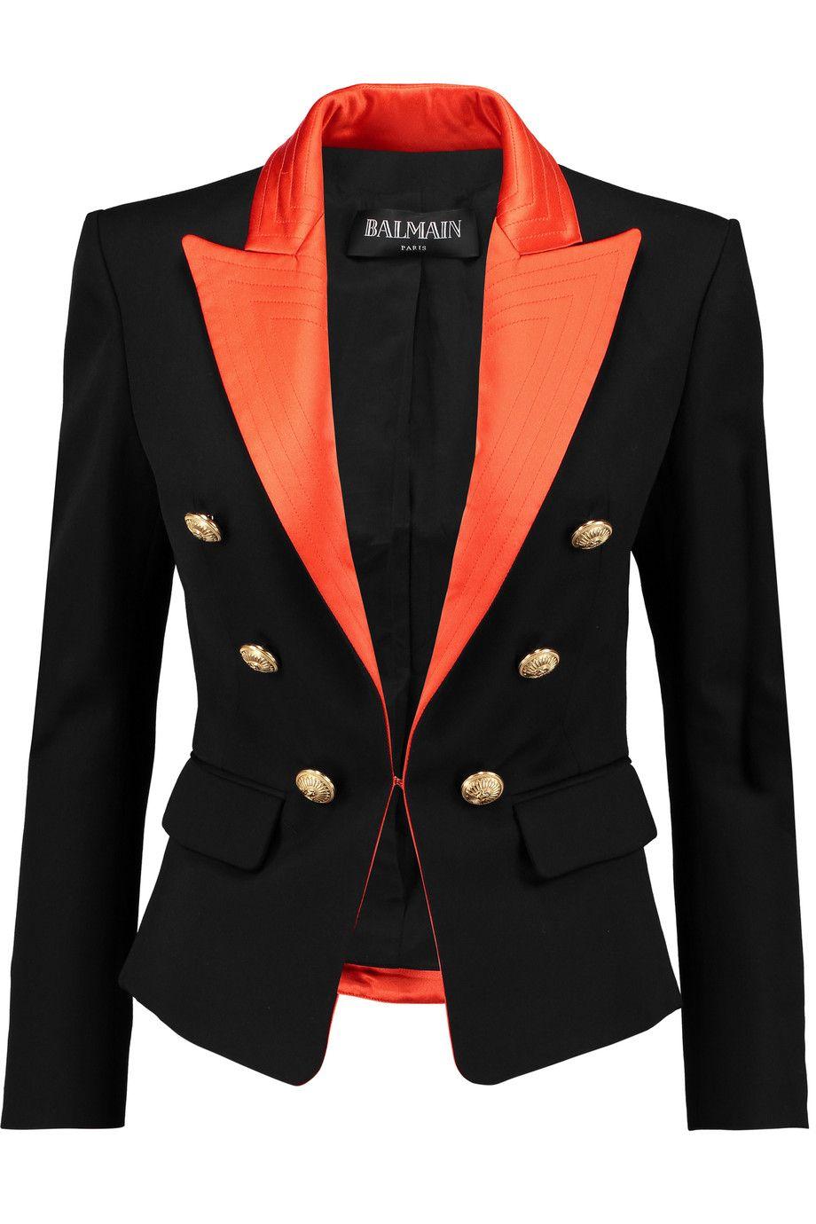 59f720c59d42 BALMAIN Silk satin-trimmed wool blazer. #balmain #cloth #blazer ...