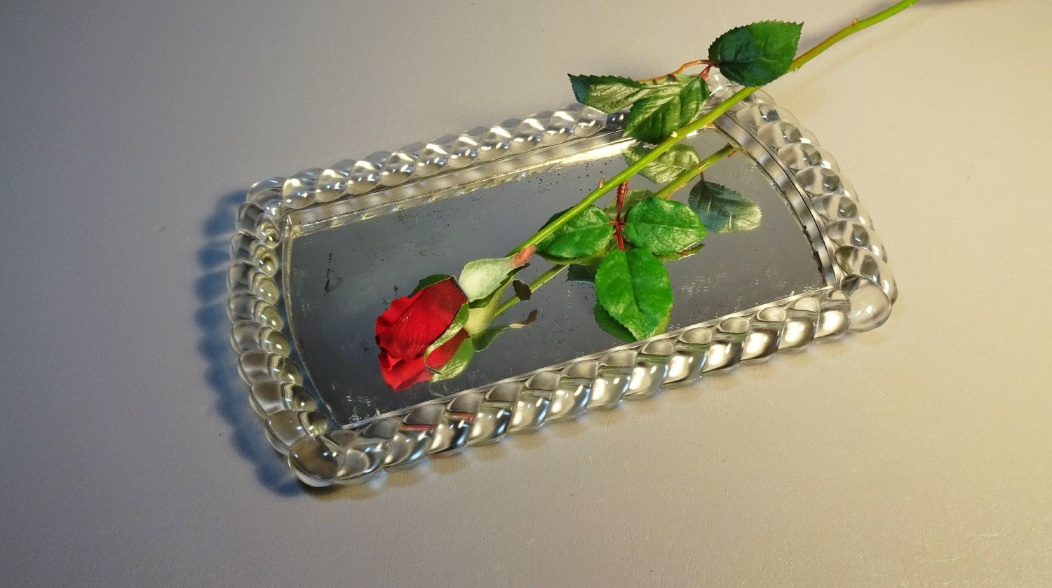 Glass Rope Border Mirrored Vanity Tray By Irving Rice Mid