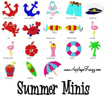 Summer Minis Embroidery Designs Summer Mini Tiny Embroidery