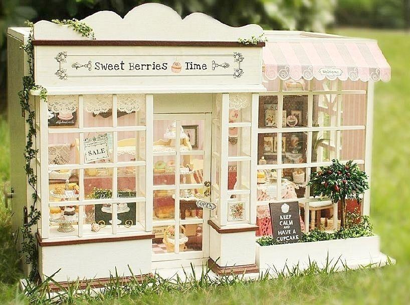 Dollhouse Miniature Diy Kit W Light Cake Store Bakery Bread Shop
